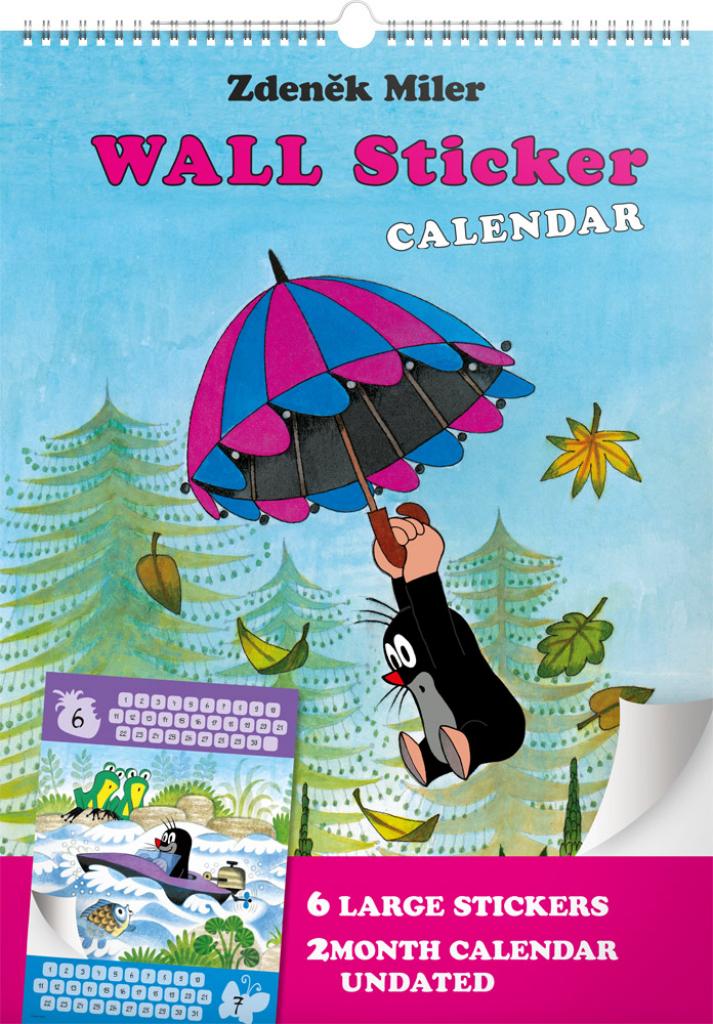Nástěnný kalendář Krteček GB, se samolepkami, 33 × 46 cm